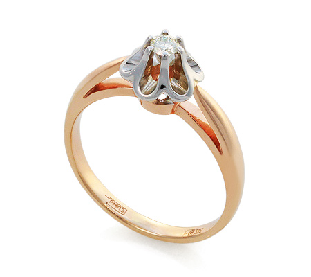 Фото«UV-KZ-003K»Красивое кольцо с бриллиантом из красного золота