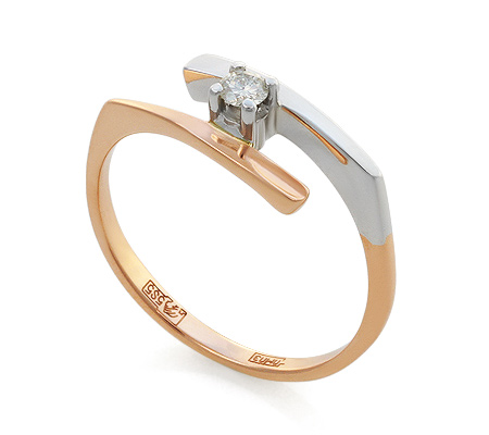 Фото«UV-KZ-018K»Кольцо из красного золота с бриллиантом