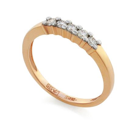 Фото«UV-KZ-023NK»Золотое кольцо дорожка из пяти бриллиантов