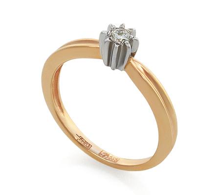 Фото«UV-KZ-035NK»Кольцо красное золото бриллиант