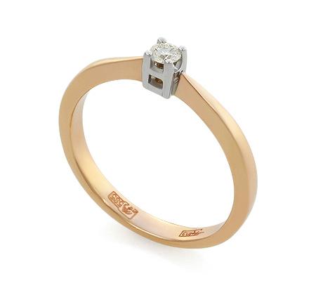 Фото«UV-KZ-044NK»Золотое кольцо с бриллиантом