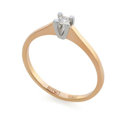 Фото«UV-KZ-046NK»Кольцо красное золото один бриллиант