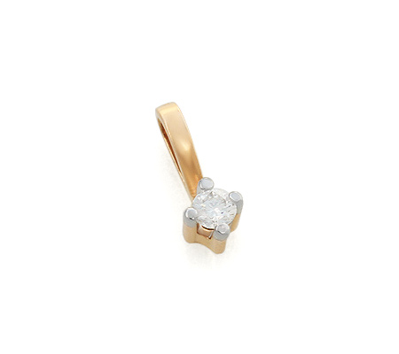 Фото«UV-KZ-047P»Недорогой золотой кулон с бриллиантом