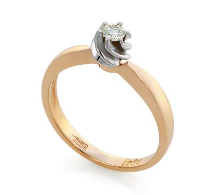 Фото«UV-KZ-048NK»Золотое кольцо с 1 бриллиантом