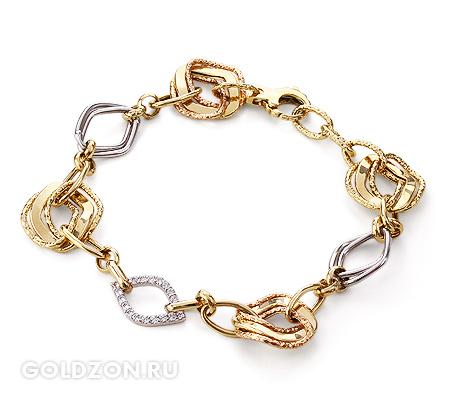 Фото«GZ-2031400»Золотой браслет с фианитами женский