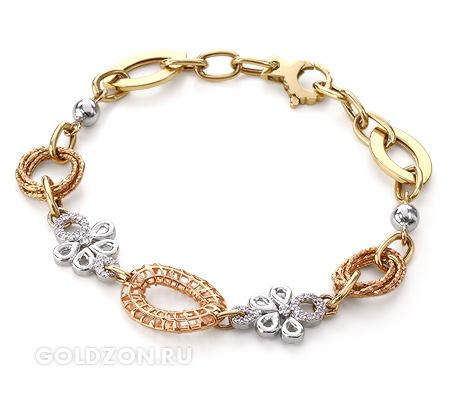 Фото«VG-2039600»Женский золотой браслет с вставками фианитами