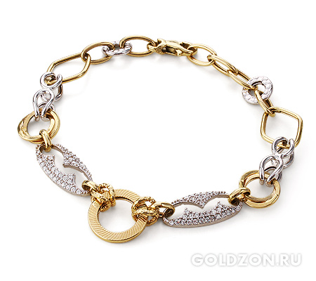 Фото«GZ-2040000»Женский браслет из золота с камнями фианитами
