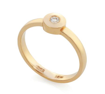 Фото«UV-KZ-072K»Кольцо с одним бриллиантом из красного золота