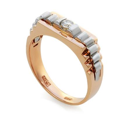 Фото«UV-KZ-091K»Золотое мужское кольцо с бриллиантом