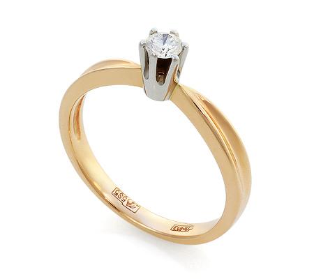 Фото«UV-KZ-093NK»Кольцо с бриллиантом красное золото