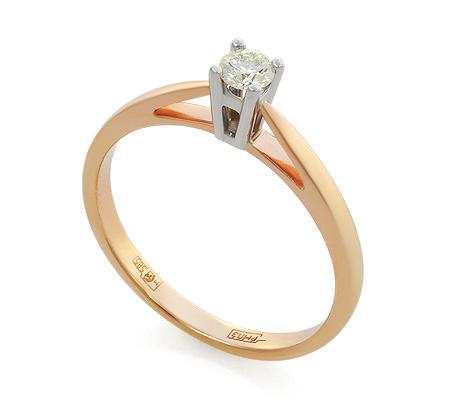 Фото«UV-KZ-094NK»Кольцо с бриллиантом из красного золота