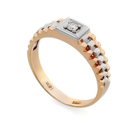 Фото«UV-KZ-095K»Мужское кольцо из красного золота с бриллиантом