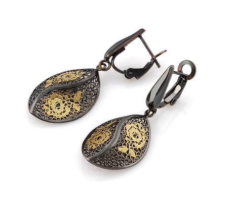 Фото«VG-0909700»Золотые серьги без вставок с черным родием