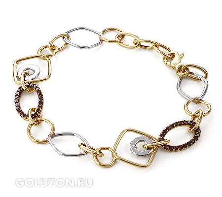 Фото«GZ-0605894»Женский золотой браслет из золота с камнями фианитами