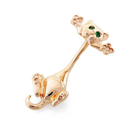 Фото«OS-4-0052»Серьга для пирсинга пупка «Котик» из золота