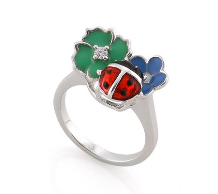 Фото«AS-3549» Серебряное кольцо с эмалью