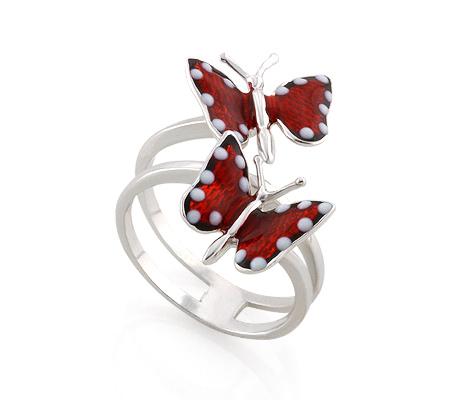 Фото«AS-3550»Серебряное кольцо бабочки с эмалью Roberto Bravo
