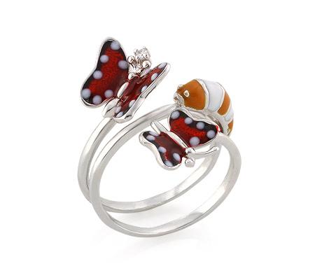 Фото«AS-3552» Серебряное кольцо с эмалью