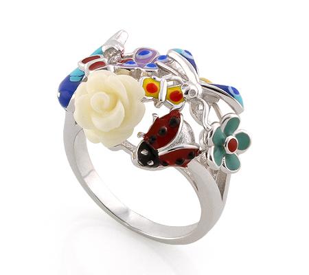Фото«AS-3565» Серебряное кольцо с эмалью
