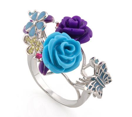 Фото«AS-3569» Серебряное кольцо с эмалью