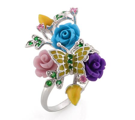 Фото«AS-3591» Серебряное кольцо с эмалью