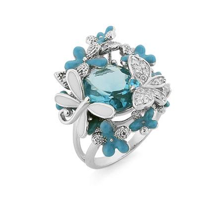 Фото«AS-5951» Серебряное кольцо с эмалью