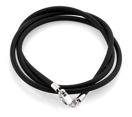 Фото«AS-6343»Каучуковый шнурок с серебром