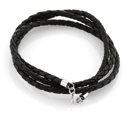 Фото«AS-6344»Кожаный шнурок с серебром