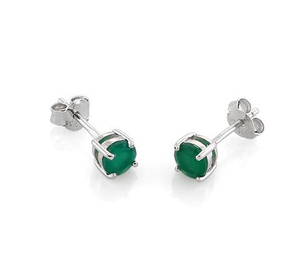 Фото«AS-6404»Серебряные серьги гвоздики с зеленым агатом