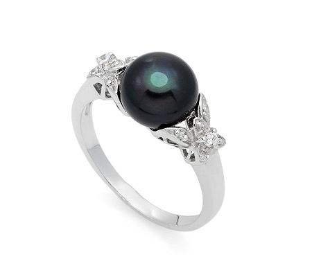 Фото«AS-6436»Серебряное кольцо с черным жемчугом и цирконом