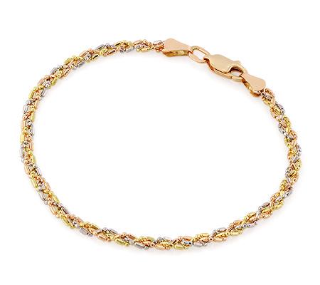 Фото«RG-5660»Фигурная крученая золотая цепочка на руку «Перлина»