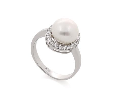 Фото«AS-540160» Кольцо с жемчугом из серебра