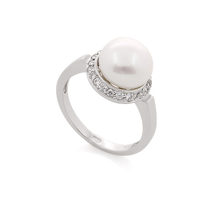 Фото«AS-560165» Кольцо с жемчугом из серебра