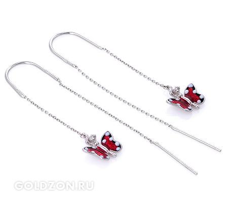 Фото«GZ-2075» Серебряные серьги с эмалью
