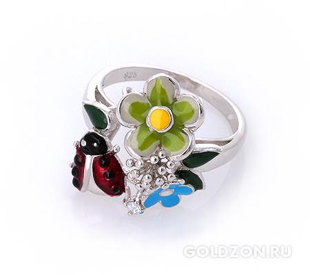 Фото«AS-2081» Серебряное кольцо с эмалью