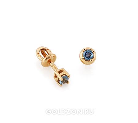 Фото«GZ-2475»Серьги пусеты из золота с голубым топазом