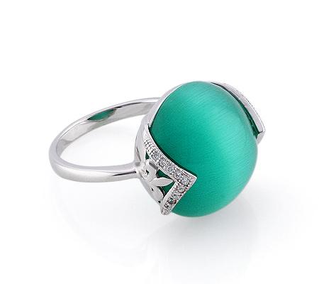 Фото«GZ-2867» Серебряное кольцо с кошачьим глазом