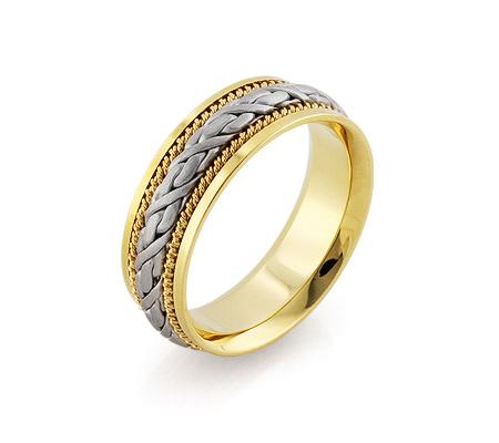 Фото«RG-1566-TS-BK-1»Широкое обручальное кольцо «Косичка» парное