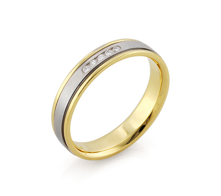 Фото«RG-F1068»Золотое женское обручальное кольцо с 5 бриллиантами