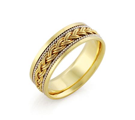 Фото«ZG-50046»Обручальное кольцо «Золотая косичка» два золота