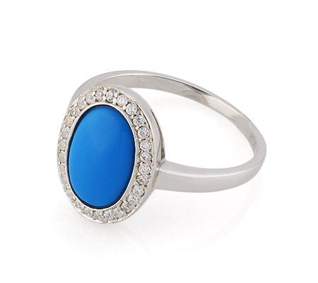 Фото«GZ-3802» Серебряное кольцо с бирюзой