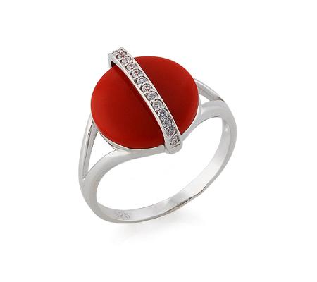 Фото«GZ-3821» Серебряное кольцо с кораллом