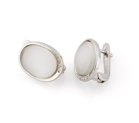 Фото«GZ-3841» Серебряные серьги с кошачьим глазом