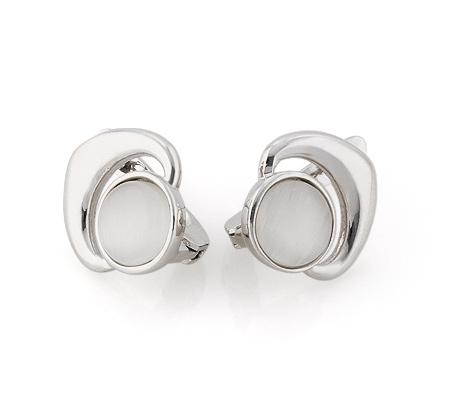 Фото«GZ-3856» Серебряные серьги с кошачьим глазом