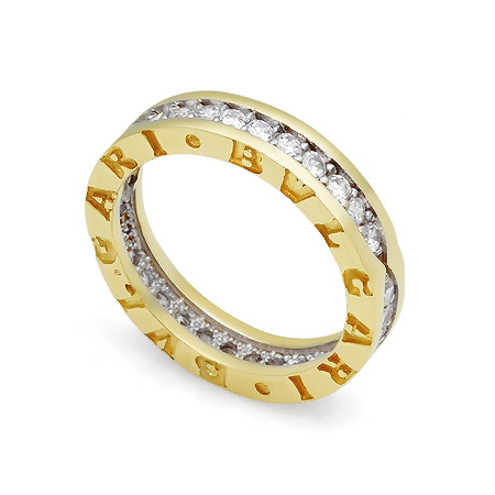 Фото«GZ-5944»Кольцо копия Булгари с камнями желтое золото