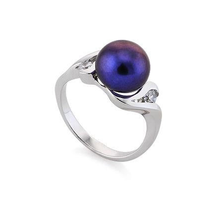 Фото«AS-5960»Серебряное кольцо с черным жемчугом