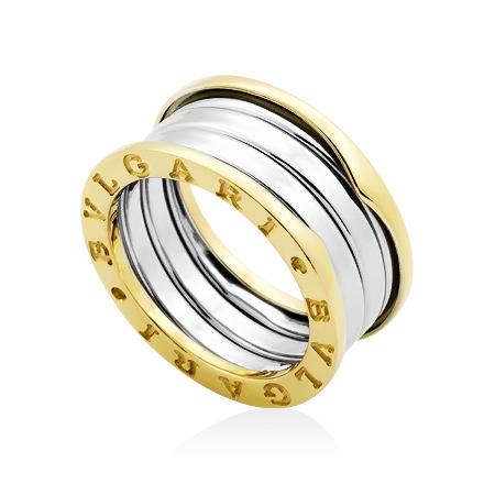 Фото«GZ-8393»Кольцо Булгари из желтого и белого золота широкое 11 мм