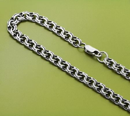 Фото«KU-1316»Тяжелая мужская цепь из серебра «Бисмарк»