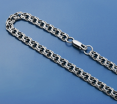 Фото«KU-1323»Мужская цепь из серебра плетение «Бисмарк»