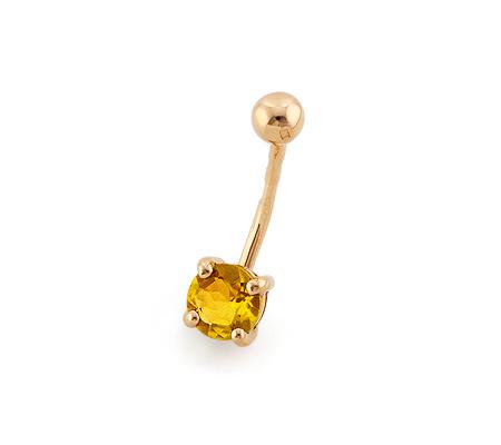 Фото«NG-3454»Золотой пирсинг с цитрином для пупка